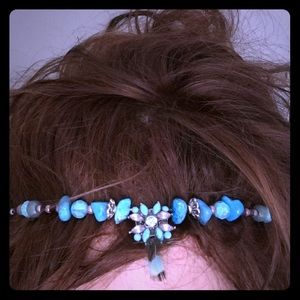Handmade turquoise, feather, rhinestone headband